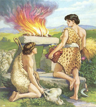 Cain & Abel offering their sacrifices to God