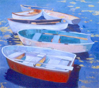 Drifting Dinghies, a painting by Peggy Hawley