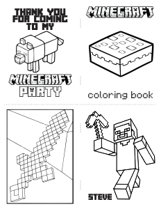 free download mini minecraft coloring book with cutting lines - Mini Coloring Books