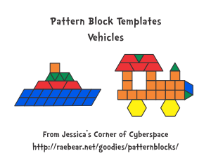 Pattern Block Templates from Jessica's Corner of Cyberspace